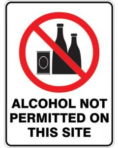 ALCOHOL NOT PERMITTED ON THIS SITE 600X450